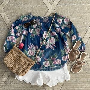 Tribal Jeans Floral Scoop Neck Blouse - Small